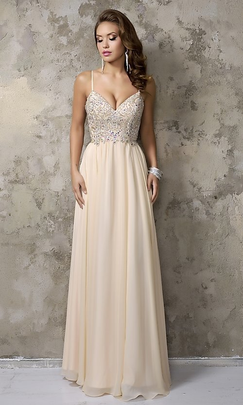 Long Beaded Champagne-Nude Formal Gown