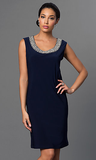 Short Beaded-Neckline Dress with Sheer Jacket