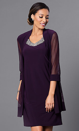 Short Beaded Neckline Dress With Sheer Jacket