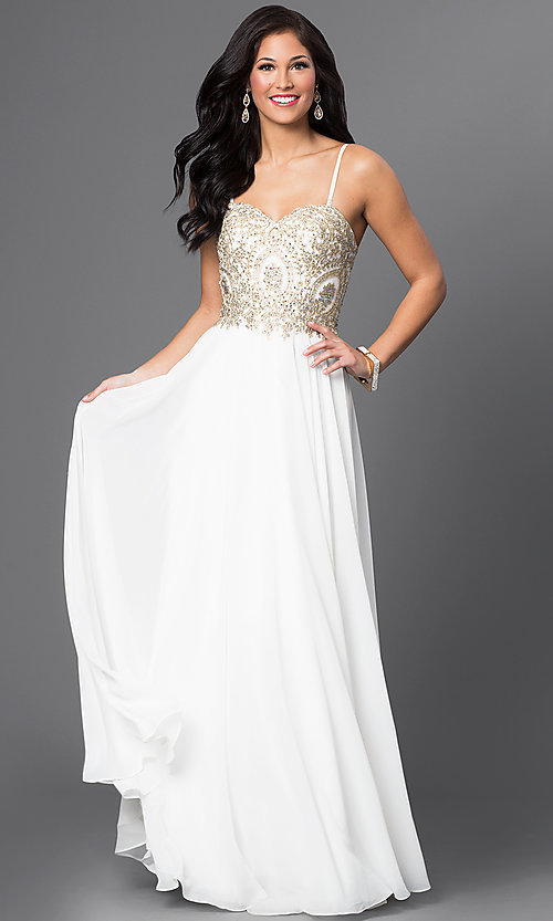 Image of beaded-bodice sweetheart off-white formal gown Style: DQ-9502 Detail Image 1