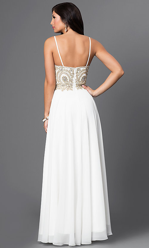 Image of beaded-bodice sweetheart off-white formal gown Style: DQ-9502 Back Image