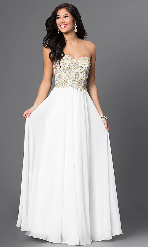 Image of beaded-bodice sweetheart off-white formal gown Style: DQ-9502 Front Image