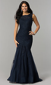 Image of long mermaid lace prom dress by Dave and Johnny Style: DJ-1937 Detail Image 3
