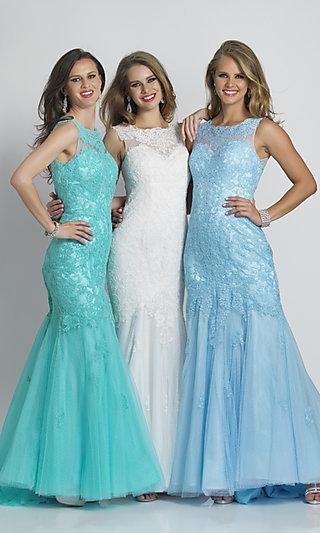 Long Mermaid Lace Prom Dress by Dave and Johnny