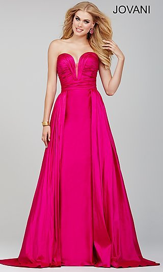 Jovani Strapless Dress with Ruched Top