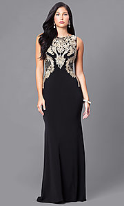 Image of black formal illusion dress with gold lace applique.  Style: DJ-2687 Front Image
