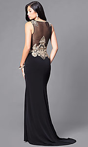 Image of black formal illusion dress with gold lace applique.  Style: DJ-2687 Back Image
