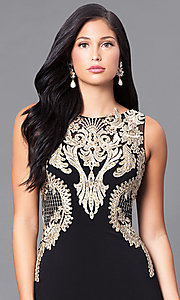 Image of black formal illusion dress with gold lace applique.  Style: DJ-2687 Detail Image 1