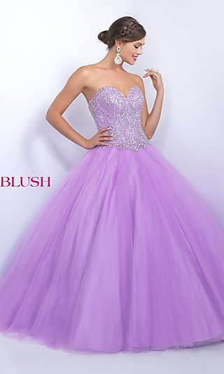 Blush Floor Length Strapless Quinceanera Gown