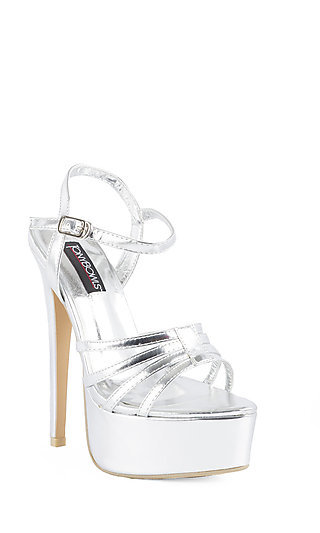 High Heel Silver Shoe by Tony Bowls
