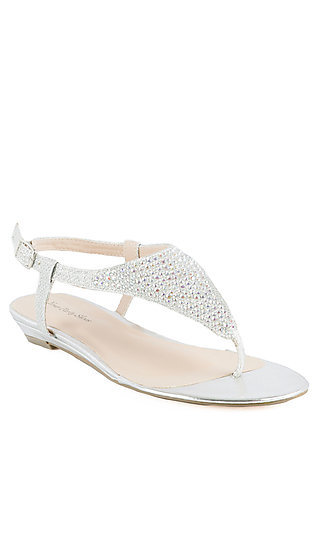 Beaded Silver Flat by Your Party Shoes