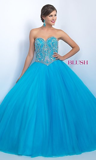 Floor Length Blush Quinceanera Gown