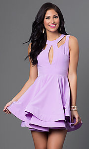 Image of sleeveless fit-and-flare short dress with cut-outs Style: LUX-LD2120 Front Image