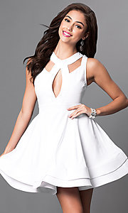 Image of sleeveless fit-and-flare short dress with cut-outs Style: LUX-LD2120 Detail Image 1