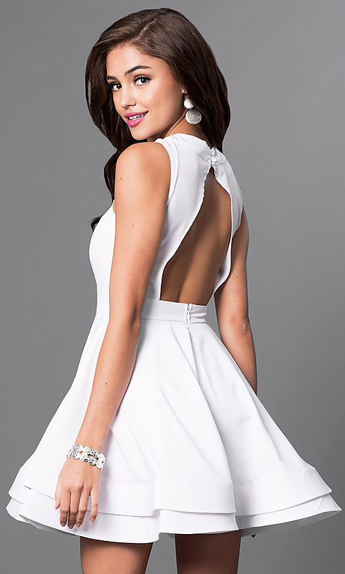 Image of sleeveless fit-and-flare short dress with cut-outs Style: LUX-LD2120 Back Image