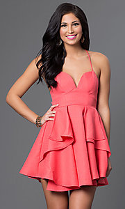 Image of spaghetti-strap short sweetheart party dress. Style: LUX-LD2145 Detail Image 2