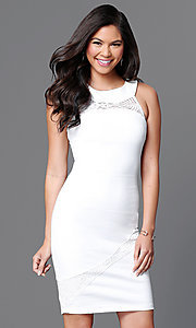 Image of sleeveless bodycon short ivory white dress. Style: MD-D14703ADK Front Image