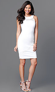 Image of sleeveless bodycon short ivory white dress. Style: MD-D14703ADK Detail Image 1