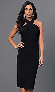 Image of criss-cross empire-waist halter dress. Style: BC-YDM69h59 Detail Image 1