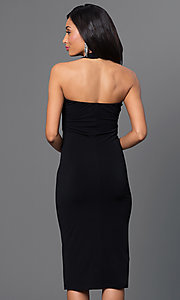 Image of criss-cross empire-waist halter dress. Style: BC-YDM69h59 Back Image