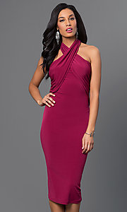 Image of criss-cross empire-waist halter dress. Style: BC-YDM69h59 Front Image