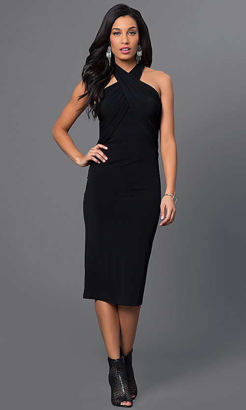 Image of criss-cross empire-waist halter dress. Style: BC-YDM69h59 Detail Image 2