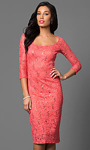 Image of three-quarter sleeve lace knee-length party dress Style: MB-7069 Front Image