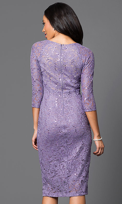 Image of three-quarter sleeve lace knee-length party dress Style: MB-7069 Back Image