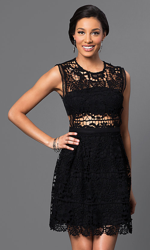 Image of short embroidered-lace sleeveless cocktail dress. Style: VE-D003 Front Image
