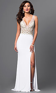 Image of long jeweled white prom gown by Brit Cameron. Style: BT-16354 Front Image