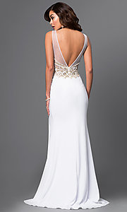 Image of long jeweled white prom gown by Brit Cameron. Style: BT-16354 Back Image