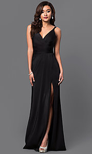 Image of v-neck long satin formal dress with open back.  Style: FA-7755b Detail Image 1