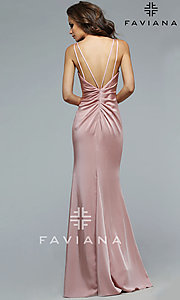 Image of v-neck long satin formal dress with open back.  Style: FA-7755b Back Image
