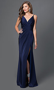 Image of v-neck long satin formal dress with open back.  Style: FA-7755b Detail Image 2