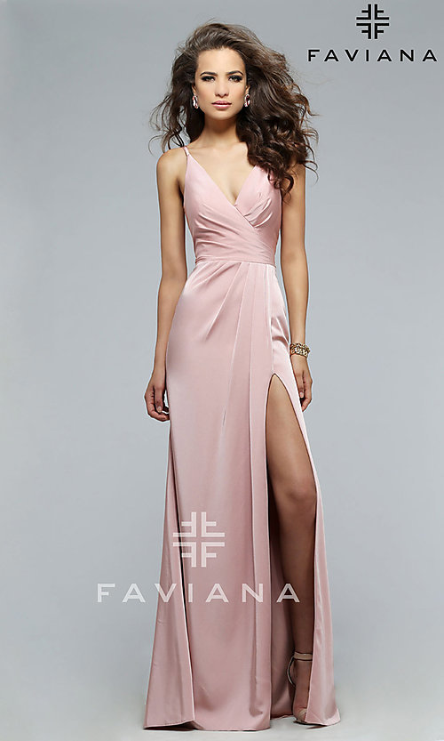 Image of v-neck long satin formal dress with open back.  Style: FA-7755b Front Image