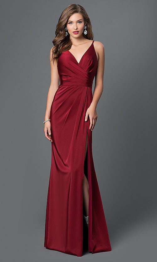 Image of v-neck long satin formal dress with open back.  Style: FA-7755b Detail Image 3