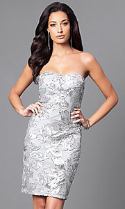 Image of sequined knee-length strapless dress. Style: JU-MA-263074 Front Image
