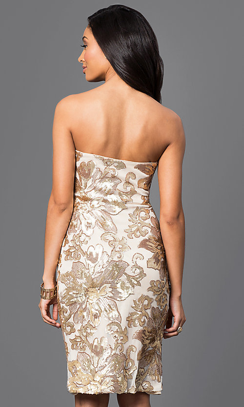 Image of sequined knee-length strapless dress. Style: JU-MA-263074 Back Image