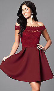 Image of embroidered-lace off-the-shoulder short dress Style: CL-44196 Detail Image 1