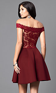 Image of embroidered-lace off-the-shoulder short dress Style: CL-44196 Back Image