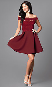 Image of embroidered-lace off-the-shoulder short dress Style: CL-44196 Detail Image 2