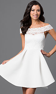 Image of embroidered-lace off-the-shoulder short dress Style: CL-44196 Front Image