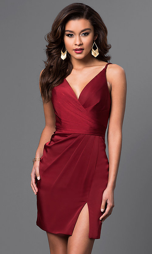 Image of v-neck backless Faviana short party dress Style: FA-7850 Front Image