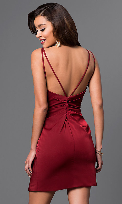 Image of v-neck backless Faviana short party dress Style: FA-7850 Back Image