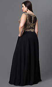 Image of long plus formal prom dress with embroidered bodice. Style: DQ-9266P Back Image