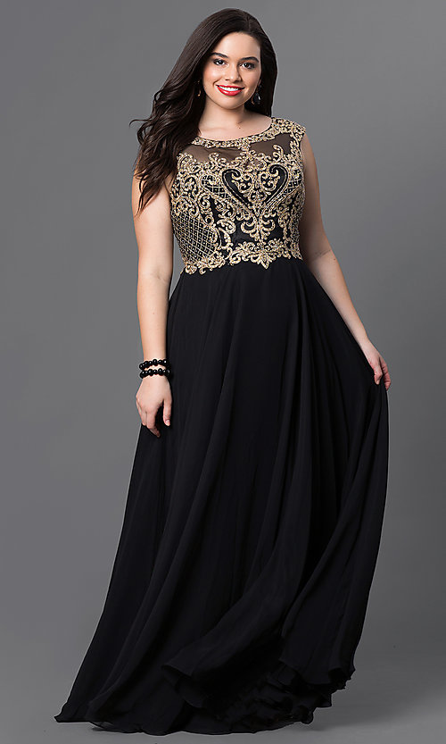 Image of long plus formal prom dress with embroidered bodice. Style: DQ-9266P Front Image