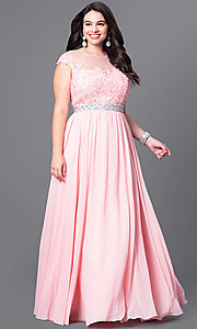 Image of long plus-size formal dress with illusion-lace bodice. Style: DQ-9400P Front Image