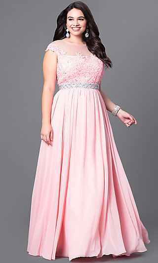 b2d131394a1 Long Plus-Size Formal Dress with Illusion-Lace Bodice