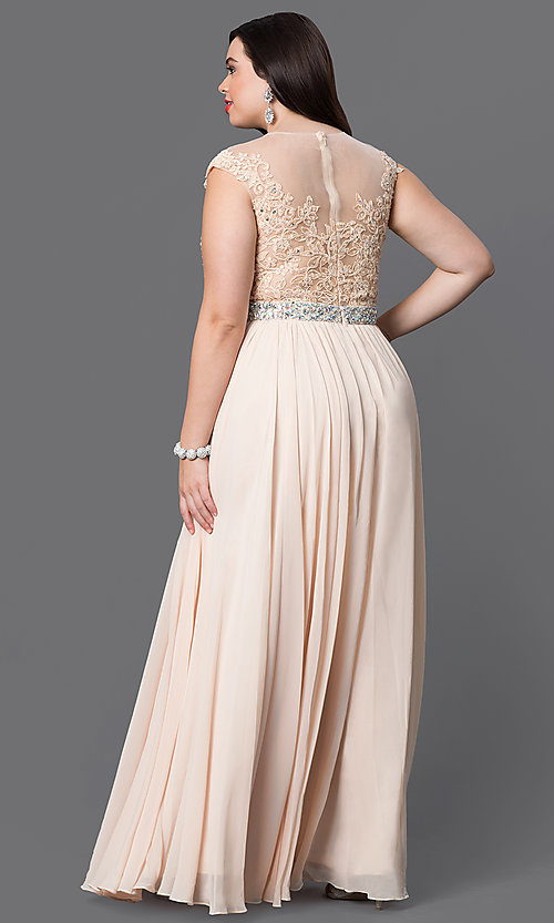 Image of long plus-size formal dress with illusion-lace bodice. Style: DQ-9400P Detail Image 6