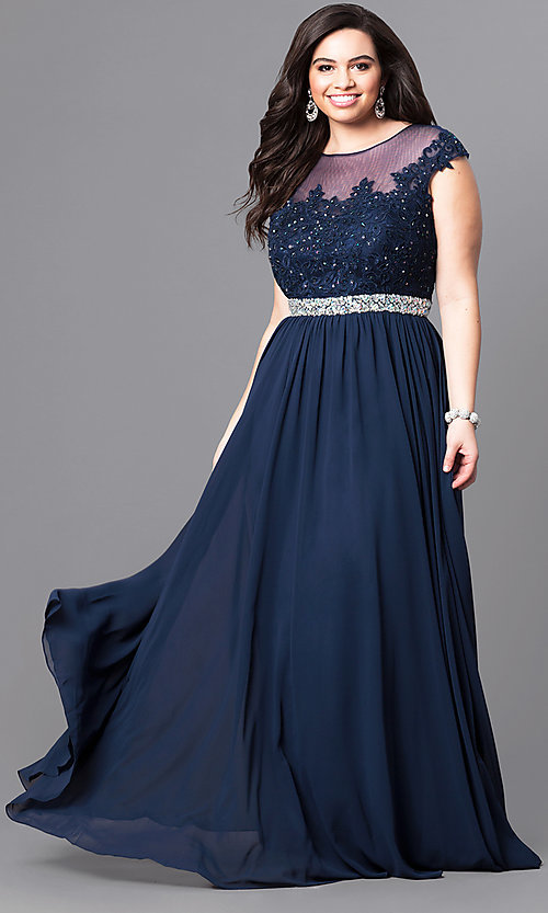 Image of long plus-size formal dress with illusion-lace bodice. Style: DQ-9400P Detail Image 1